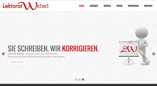 Responsive Single Page Webdesign aus Berlin Pankow: Lektorat Welzel